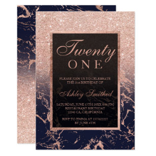 Faux Rose Gold Glitter Navy Marble 21st Birthday Invitation