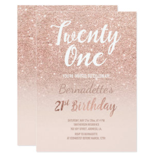 21st birthday invitations announcements zazzle faux rose gold glitter ombre 21st birthday invitation filmwisefo