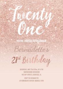 Faux Rose Gold Glitter Ombre 21st Birthday Invitation