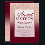"""Faux rose gold glitter ombre burgundy Sweet 16 Invitation<br><div class=""""desc"""">A modern,  pretty chic and elegant faux rose gold glitter shower ombre with marsala burgundy color block Sweet 16 birthday party invitation with rose gold ombre pattern with burgundy and elegant gold frame Perfect for a princess Sweet sixteen,  perfect  for her,  the fashionista who loves modern pattern and glam</div>"""