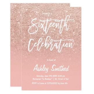 Faux rose gold glitter ombre script Sweet Sixteen Card