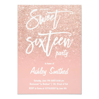 Faux rose gold glitter ombre typography Sweet 16 Card