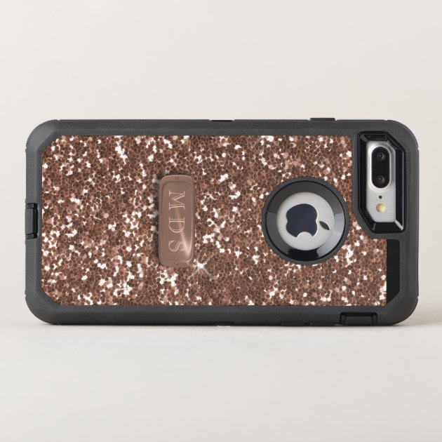 faux rose gold glitter otterbox 3d monogram otterbox defender iphone 7 plus case