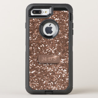 Faux Rose Gold Glitter Otterbox 3D Monogram OtterBox Defender iPhone 8 Plus/7 Plus Case