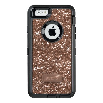 Faux Rose Gold Glitter Otterbox Glitz 3d Monogram Otterbox Defender Iphone Case by mothersdaisy at Zazzle