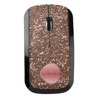 Faux Rose Gold Glitter Pink Glass Button Monogram Wireless Mouse