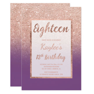 Faux rose gold glitter purple chic 18th Birthday Card