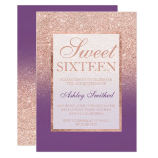 Faux rose gold glitter purple chic Sweet 16 Card