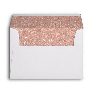 Faux Rose Gold Glitter Return Address Envelope