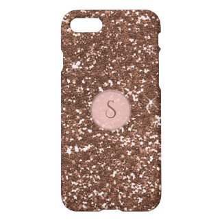 Faux Rose Gold Glitter Round Pink Monogram iPhone 7 Case