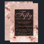 "Faux rose gold glitter sparkles fifty fabulous invitation<br><div class=""desc"">A modern,  pretty chic and elegant faux rose gold glitter shower ombre with rose gold sparkles bokeh color block Fifty and fabulous fiftieth birthday party invitation with rose gold ombre pattern.Perfect for a 50th birthday.</div>"