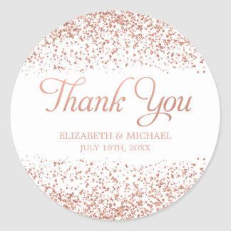 Faux Rose Gold Glitter Wedding Thank You Classic Round Sticker