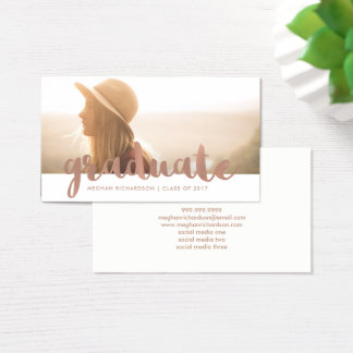 Faux Rose Gold Graduation Photo Insert Name Card