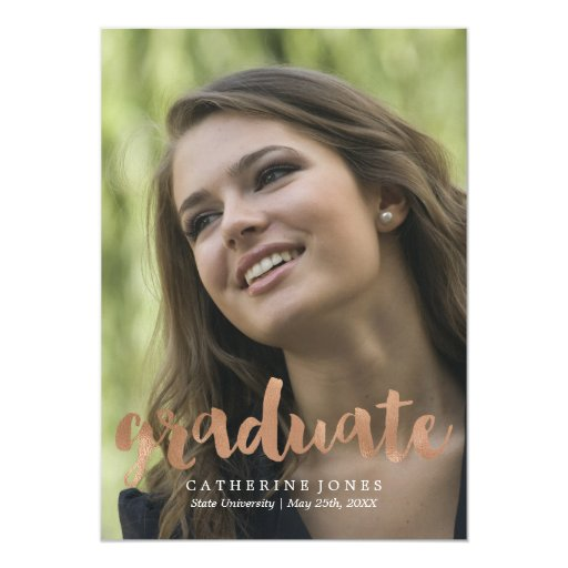 Faux Rose Gold Hand Lettered Typography Graduation Card