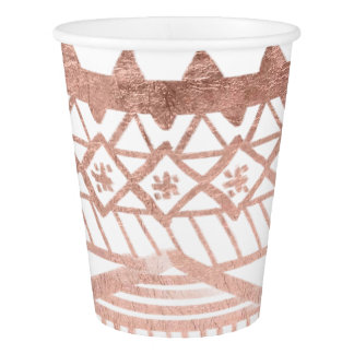 Faux rose gold handdrawn geometric aztec paper cup