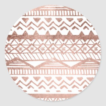 Aztec Themed Faux rose gold handdrawn trendy aztec classic round sticker