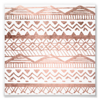 Faux rose gold handdrawn trendy aztec photo print