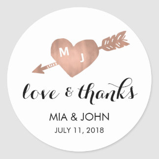 Faux Rose Gold Heart Thank You Wedding Favor Classic Round Sticker