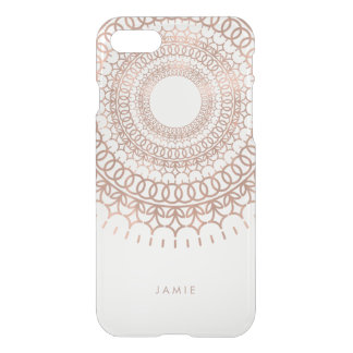 Faux Rose Gold Intricate Lace Mandala Pattern iPhone 7 Case