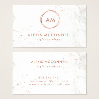 Faux Rose Gold Look on White Marble | Circle Business Card