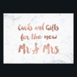 "Faux rose gold marble gifts wedding sign<br><div class=""desc"">A modern,  original and chic brush hand lettering typography in faux rose gold leaf cards and gifts for the new Mr and Mrs wedding sign on an elegant and simple white trendy marble background</div>"