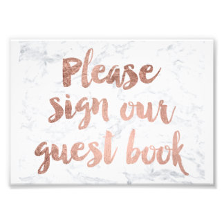 Faux rose gold marble guest book wedding sign