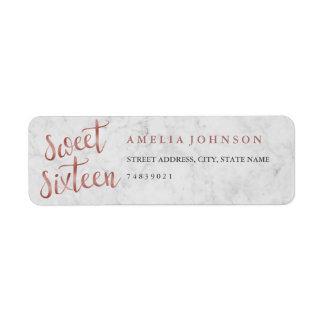 Faux Rose Gold Marble Sweet Sixteen Address Label