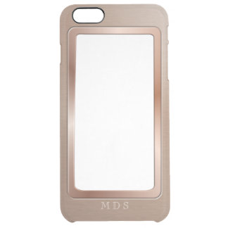 Faux Rose Gold Metal Bezel Clear Personalized Clear iPhone 6 Plus Case