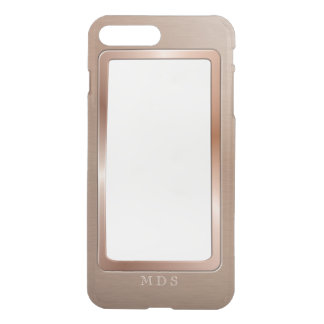 Faux Rose Gold Metal Bezel Clear Personalized iPhone 7 Plus Case