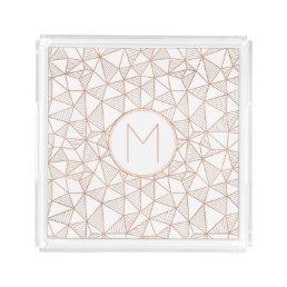 Faux Rose Gold Modern Geometric Acrylic Tray
