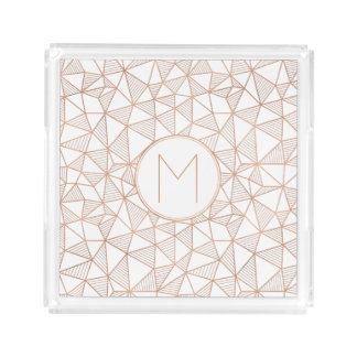 Faux Rose Gold Modern Geometric Acrylic Tray
