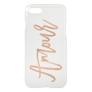 Faux Rose Gold Modern Typography | Amour iPhone 8/7 Case