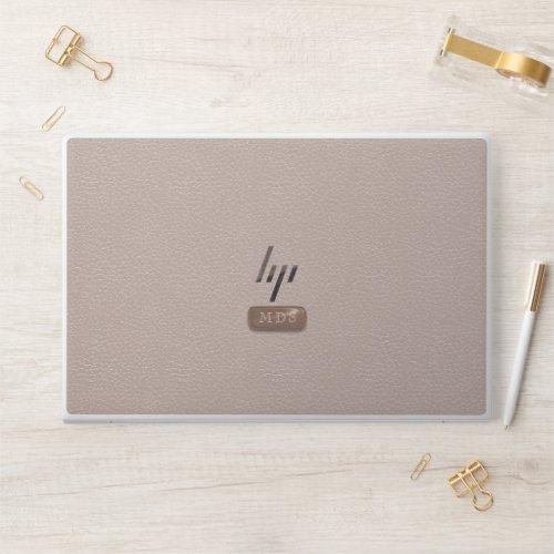 Faux Rose Gold Monogram Blush Pink HP Laptop Skin