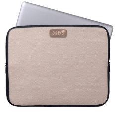 Faux Rose Gold Monogram Blush Pink Laptop Sleeve at Zazzle