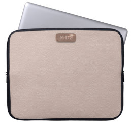 Faux Rose Gold Monogram Blush Pink Laptop Sleeve