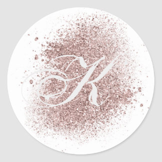 Faux Rose Gold Monogram Sticker