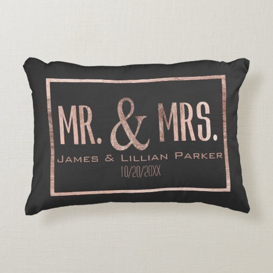 Faux Rose Gold Mr And Mrs Monogram Wedding Decorative Pillow Fascinating Rose Gold Decorative Pillows