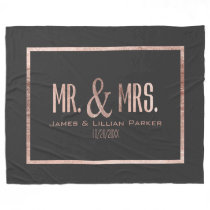 Faux Rose Gold Mr. and Mrs. Monogram Wedding Fleece Blanket
