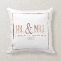 Faux Rose Gold Mr. and Mrs. Monogram Wedding Throw Pillow