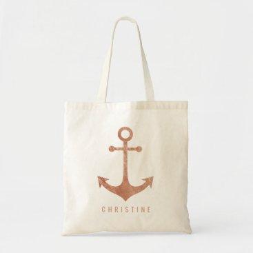 Beach Themed faux rose gold nautical anchor tote bag