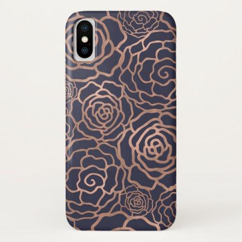 Faux Rose Gold & Navy Blue Floral Lattice Phone Case