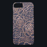 "Faux Rose Gold &amp; Navy Blue Floral Lattice iPhone 8/7 Case<br><div class=""desc"">Dress your phone up in gleaming faux rose gold foil! Phone case features a floral lattice pattern of roses and camellias in rose gold foil effect on a rich and elegant midnight navy blue background. PLEASE NOTE: foil is a printed image.</div>"