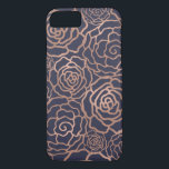 """Faux Rose Gold &amp; Navy Blue Floral Lattice iPhone 8/7 Case<br><div class=""""desc"""">Dress your phone up in gleaming faux rose gold foil! Phone case features a floral lattice pattern of roses and camellias in rose gold foil effect on a rich and elegant midnight navy blue background. PLEASE NOTE: foil is a printed image.</div>"""