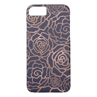 Faux Rose Gold & Navy Blue Floral Lattice iPhone 8/7 Case