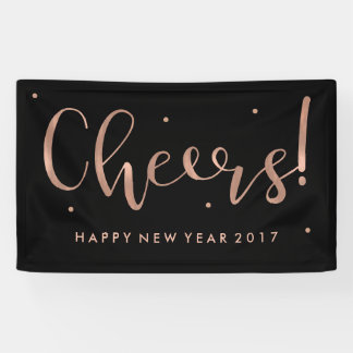 Faux Rose Gold on Black Cheers New Year Banner