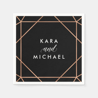 Faux Rose Gold on Black Modern Geometric Wedding Paper Napkin