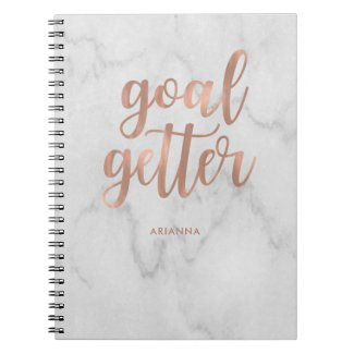 Faux Rose Gold on Marble | Goal Getter Notebook