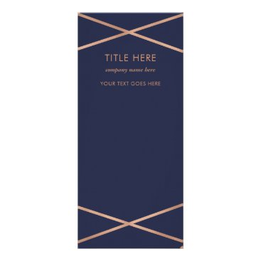 Professional Business Faux Rose Gold on Midnight Blue Rack Card