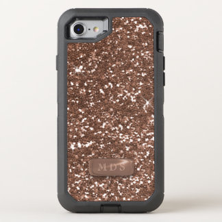 Faux Rose Gold OtterBox Monogram Sparkle Glittery OtterBox Defender iPhone 8/7 Case