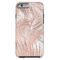 Faux rose gold palm tree leaf marble pattern tough iPhone 6 case